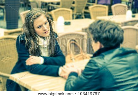 Couple in a deep moment of a Confession poster