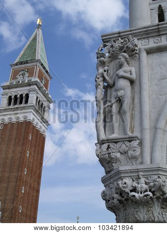 Bell Tower And Doges Palace, Venice, Italy