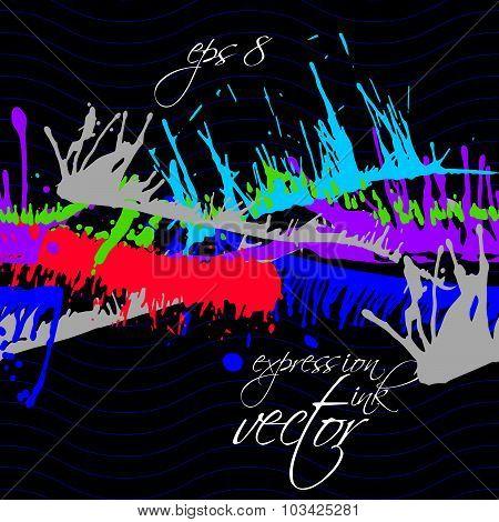 Bright contrast splattered web design repeat pattern, art ink blob, paintbrush drawing. Smudge color