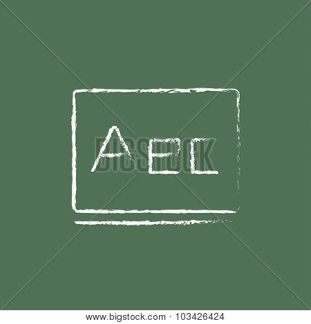 Letters abc on the blackboard hand drawn in chalk on a blackboard vector white icon isolated on a green background.