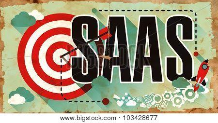 SAAS on Grunge Poster in Flat Design.