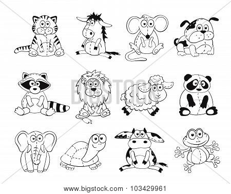 Cartoon animals outlines