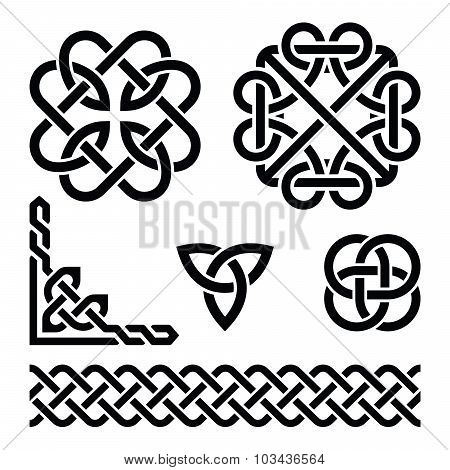 Vector set of traditional Celtic symbols, knots, braids in black isolated on white poster