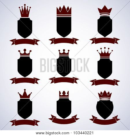 Collection of empire design elements. Heraldic royal coronet illustration, imperial decoration