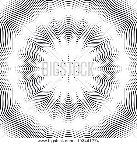 Optical illusion, moire background, abstract lined monochrome tiling. Unusual geometric pattern with visual effects. poster