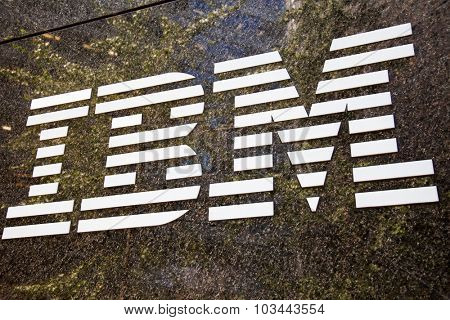 NEW YORK CITY, USA - CIRCA SEPTEMBER 2014: IBM brand name logo in New York City