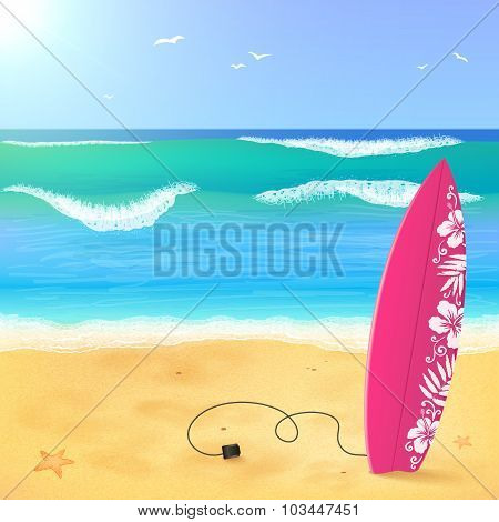 Pink surfing board on the beach with waves