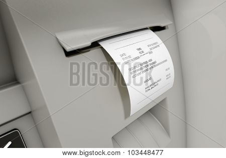 A closeup view of the slip printing section of an atm with a withdrawel receipt poster