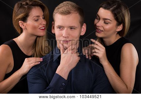 Alluring Women Seducing Narcissistic Man