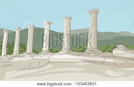 antique ruins vector background