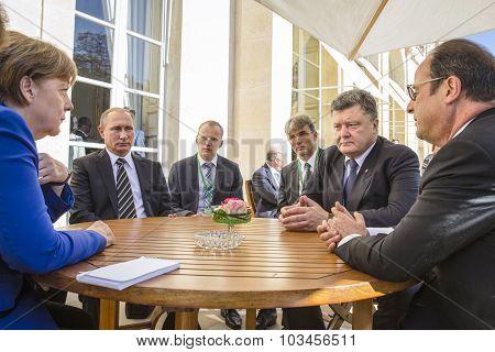 Merkel, Putin, Poroshenko And Hollande