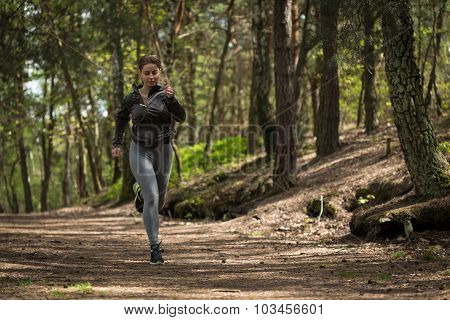 Picture of female enduring runner preparing for marathon poster