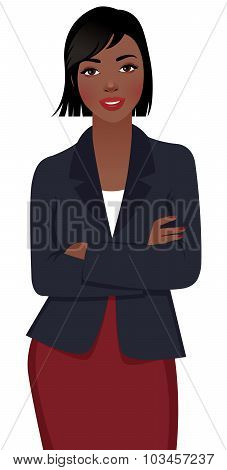 Young African American Woman Businessman In Suit Isolated On White Background