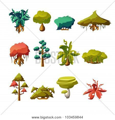 Cartoon nature elements, vector objects