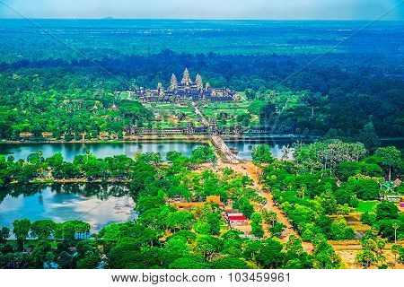 Aerial View Of Angkor Wat Temple