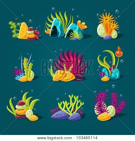 Set of cartoon algae, elements for aquarium decoration