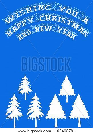 White Trees On Blue With Christmas Greetings Banner