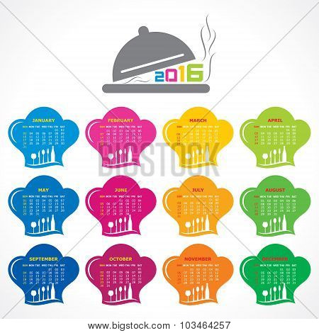 creative New Year 2016 calendar design stock vector
