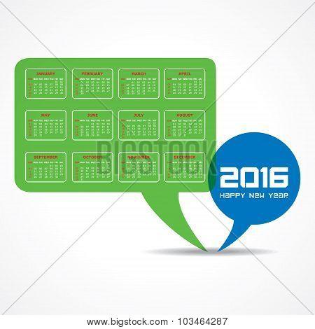 creative New Year 2016 calendar design stock vector