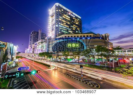 BANGKOK, THAILAND - OCTOBER 2, 2015: MBK Shopping Center. It was the largest mall in Asia when opened in 1985 and is still popular with Thais and foreigners alike.