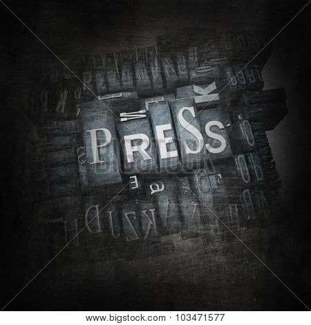 3D rendering of the word press in metallic print letter cases