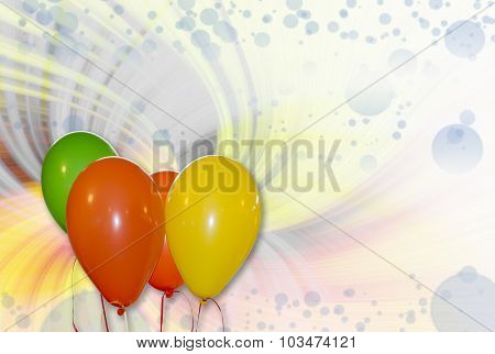 Balloons With Abstract Twirl Background