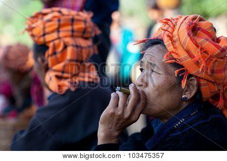 Pa-o Tribal Women In Shan State, Myanmar
