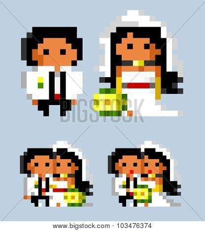 white Wedding bride. pixel vector illustration