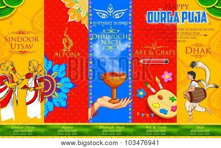 illustration of goddess Durga in Happy Durga Puja background with different events like Sindoor Utsav( play with vermillion), Alpona(rangoli) and Dhunuchi Nach (traditional dance)