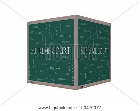 Supreme Court Word Cloud Concept On A 3D Blackboard