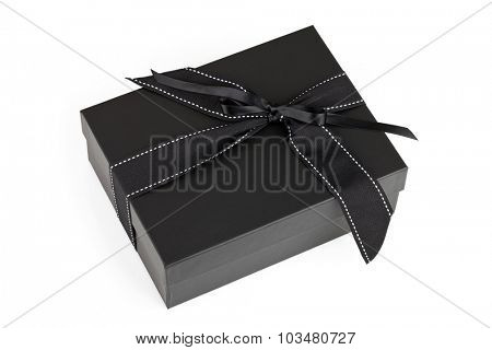 Black box with silk ribbon isolated on white