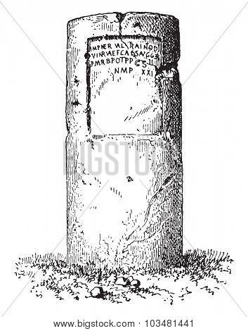 Milestone, vintage engraved illustration.