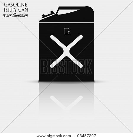 Gasoline jerry can icon with reflection