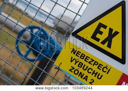 Gas transmission system with Explosion sign. Closeup. poster