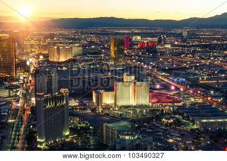 Las Vegas Skyline At Sunset