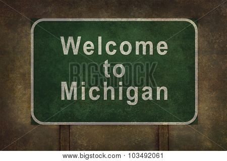 Welcome To Michigan Roadside Sign Illustration
