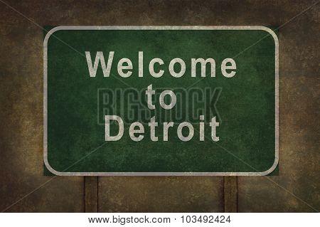 Welcome to Detroit roadside sign illustration