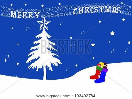 Winter Scene With Tree Stockings And Merry Christmas Banner