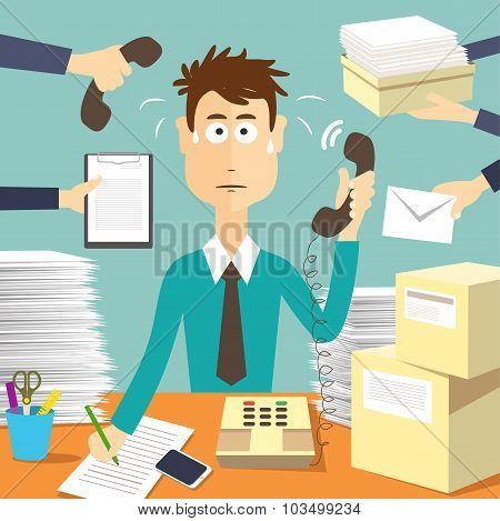 Man secretary hard working
