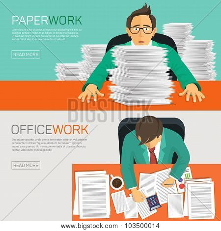 Busy businessman working with paperwork on her desk at office