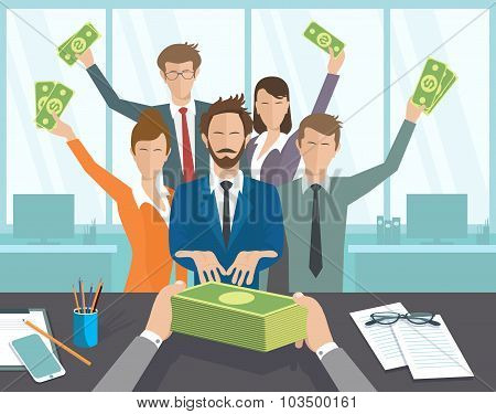The office manager or workers receive a monthly salary.