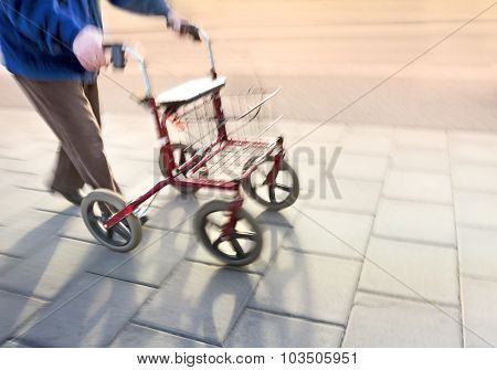 Senior Citizen With Walking Frame