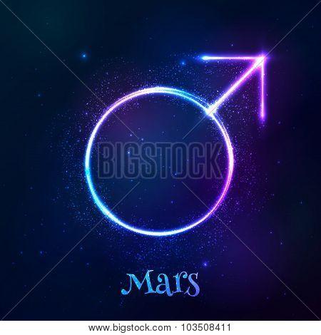 Vector shining blue neon light Mars astrological symbol poster