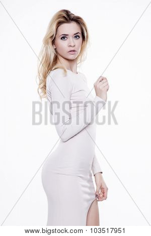 Portrait of beautiful young adult attractive sexy and sensuality happy smiling pretty woman dressed, Isolated on white background