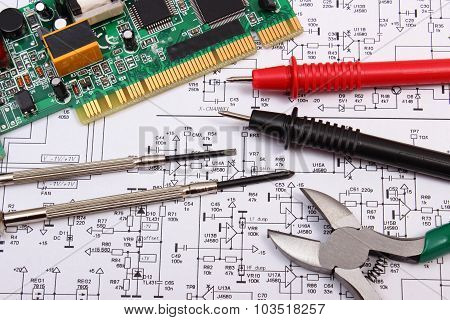 Printed circuit board with electrical components precision tools and cable of multimeter on construction drawing of electronics drawings and tools for engineer jobs poster