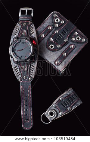 accessory kit. biker watch, wallet and key ring.