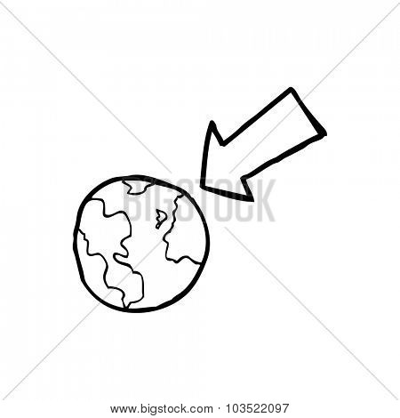 simple black and white line drawing cartoon  arrow pointing at earth