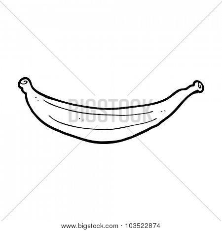 simple black and white line drawing cartoon  banana