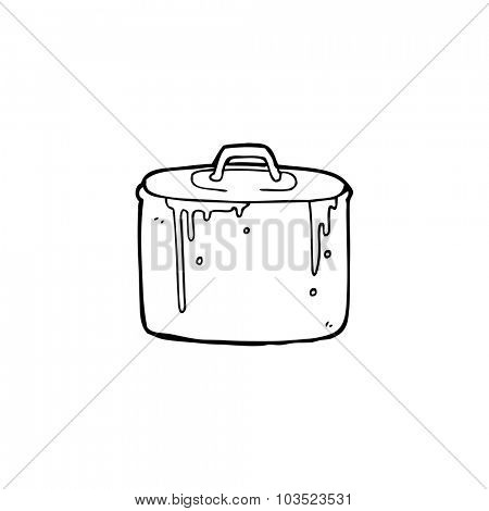simple black and white line drawing cartoon  bubbling pan