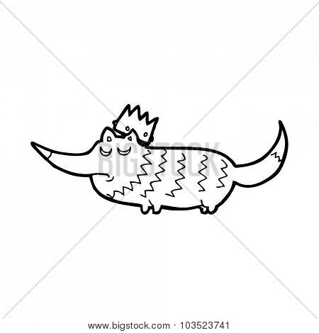 simple black and white line drawing cartoon  little wolf with crown